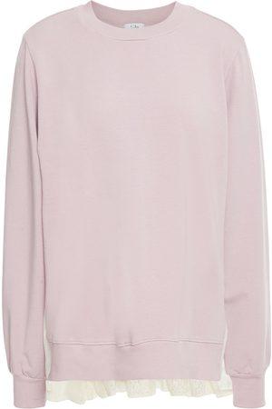 CLU Women Sweatshirts - Woman Lace-paneled French Terry Sweatshirt Lilac Size L