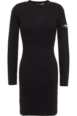 Love Moschino Woman Appliquéd Stretch-knit Mini Dress Size 38