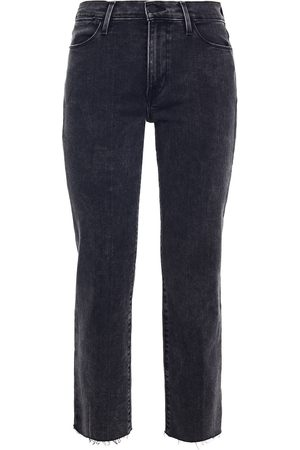 Frame Woman Cropped Mid-rise Slim-leg Jeans Charcoal Size 23