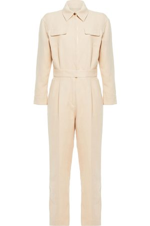 Sandro Woman Uno Pleated Cotton And Linen-blend Twill Jumpsuit Size 34