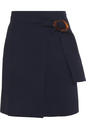 Sandro Woman Wrap-effect Buckled Stretch-ponte Mini Skirt Navy Size 0