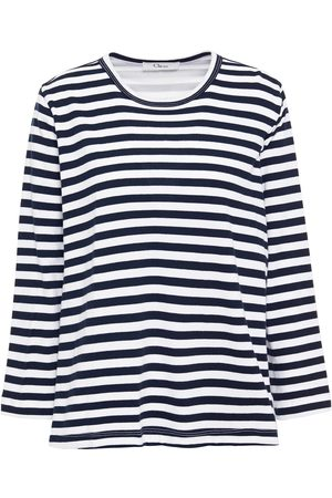 CLU Woman Printed Cotton-poplin And Jersey Top Navy Size M