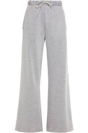 Être Cécile Être Cécile Woman Embroidered Mélange Tech-jersey Track Pants Gray Size L