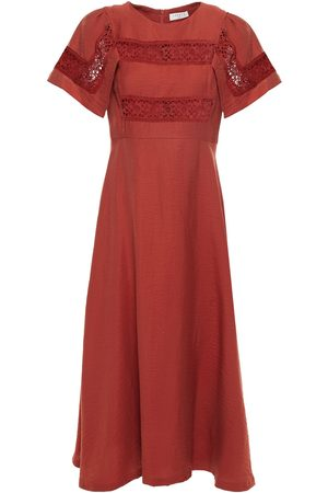 Sandro Woman Benila Guipure Lace-paneled Crinkled Twill Midi Dress Brick Size 34