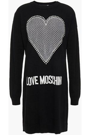 Love Moschino Woman Embellished Intarsia-knit Mini Dress Size 38