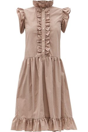 BATSHEVA Women Dresses - Claude Low-waist Ruffled Gingham Cotton Dress - Womens