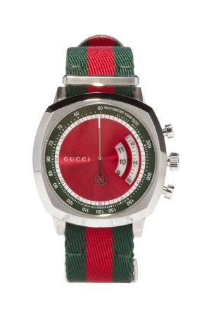 Gucci Grip Web-striped Tachymeter Watch - Mens