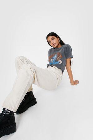 NASTY GAL Women High Waisted - Womens Seam Detail High Waisted Slit Mom Jeans - - 4