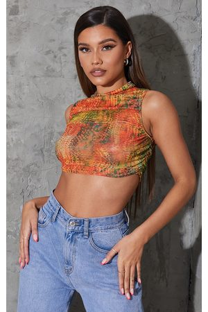 PRETTYLITTLETHING Orange Abstract Snake Printed Mesh Sheer High Neck Ruched Crop Top