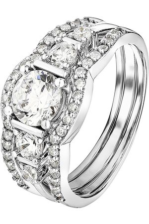 The Love Silver Collection 925 Sterling Rhodium Plated 6.5Mm White Cubic Zirconia 3 Piece Set Ring