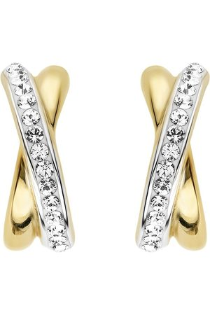 EVOKE 925 Sterling Silver Rhodium And Yellow Gold Plated Swarovski Crystal Kiss Stud Earrings