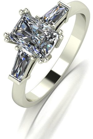 Moissanite 9Ct White 1.70Ct Eq Radiant Cut Solitaire Ring With Tapered Baguette Shoulders