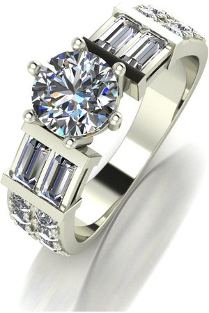 Moissanite 9Ct White 2.10Ct Total Solitaire Ring With Baguette Shoulders