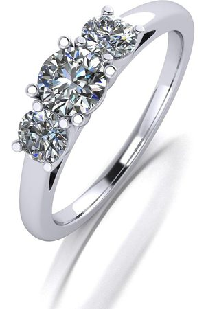 Moissanite Platinum 1.00Ct Total Trilogy Ring