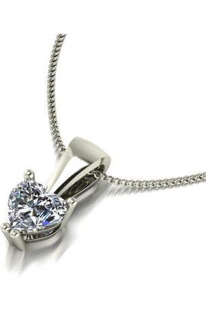 Moissanite 9Ct White 0.50Ct Heart Pendant & Chain