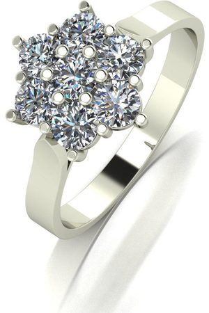 Moissanite 9Ct White 1.00Ct Total Seven Stone Daisy Cluster Ring