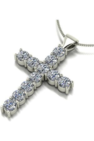 Moissanite 9Ct White 1.20Ct Total Cross & Chain