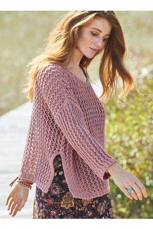 Peruvian Connection Boothbay Mesh Pima Cotton Pullover