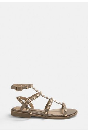 Missguided Taupe Studded Gladiator Sandals