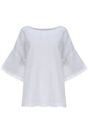 120% Lino 120% Lino Printed Blouse with Lace Sleeve in