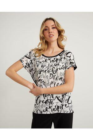 Joseph Ribkoff Graffiti Print Tee Style 211206