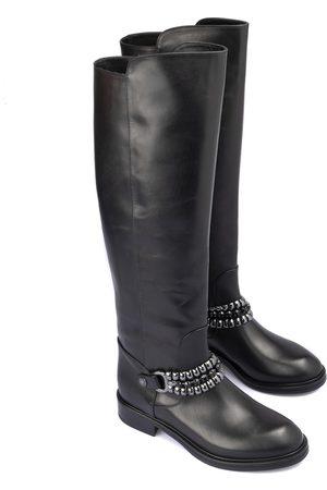 LORIBLU Women Boots - Metal chain leather boots
