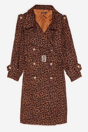 NASTY GAL Womens Plus Size Leopard Print Belted Trench Coat - - 16