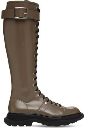 Alexander McQueen Women High Leg Boots - 40mm Treaded Leather Tall Boots