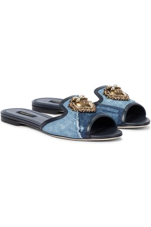 Dolce & Gabbana Patchwork embellished denim slides