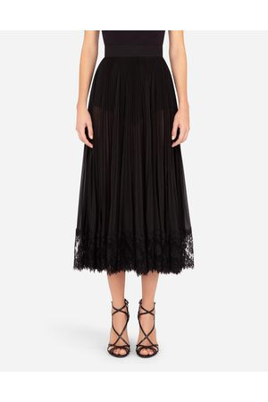 Dolce & Gabbana Women Pleated Skirts - Skirts - LONGUETTE SKIRT IN PLISSÈ GEORGETTE AND CHANTILLY LACE female 42