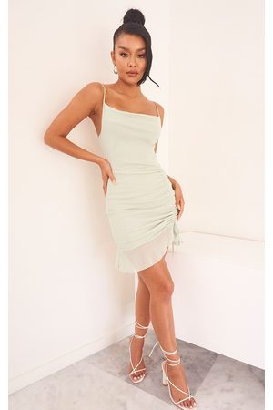 PRETTYLITTLETHING Sage Mesh Ruched Bodycon Dress