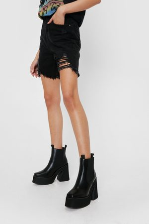 NASTY GAL Womens Faux Leather Heeled Chelsea Ankle Boots - - 3