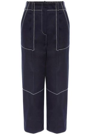 Alexander McQueen Women Trousers - Topstitched Cotton-twill Cropped Trousers - Womens - Navy