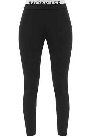 Moncler Matt Technical Stretch Jersey Leggings W Logo Wais - Womens