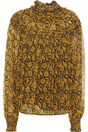 Nicholas Woman Romi Ruffled Printed Georgette Blouse Mustard Size 0