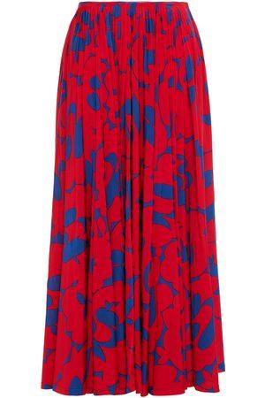 Marni Woman Pleated Printed Satin-jersey Maxi Skirt Size 38