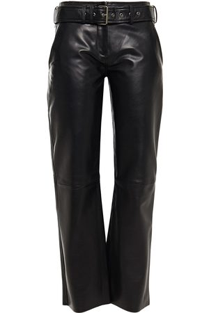 Muubaa Woman Belted Leather Straight-leg Pants Size 10