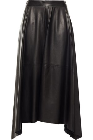 Brunello Cucinelli Woman Asymmetric Leather Midi Skirt Size 38