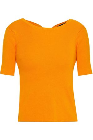 SIMON MILLER Woman Knotted Cutout Ribbed Cotton-blend Top Marigold Size M