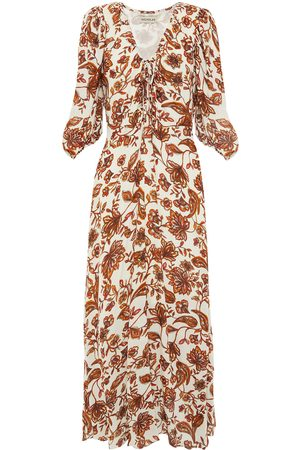 Nicholas Woman Danielle Ruched Floral-print Crepe Maxi Dress Ivory Size 4