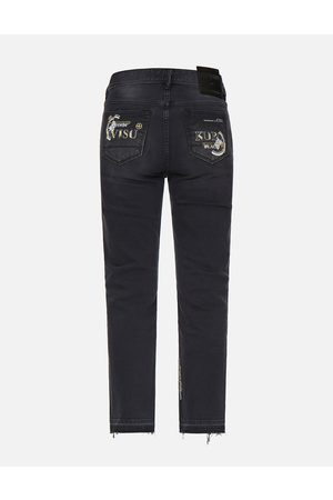 Evisu Slashed Kamon and Logo Embroidered Cropped Straight Fit Jeans