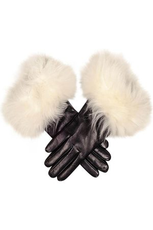 Black Leather Gloves with White Cashmere Fur Cuff