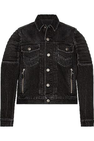 Balmain Embossed Denim Jacket in Black
