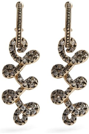 Hstern Noble Gold and Diamond Celtic Dunes Drop Earrings