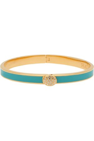 Halcyon Days Gold-Plated Crystal Button Bangle