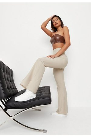 Missguided Sand Split Hem Flared Trousers