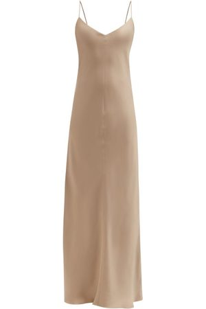 Raey V-neck Silk-satin Maxi Dress - Womens - Grey