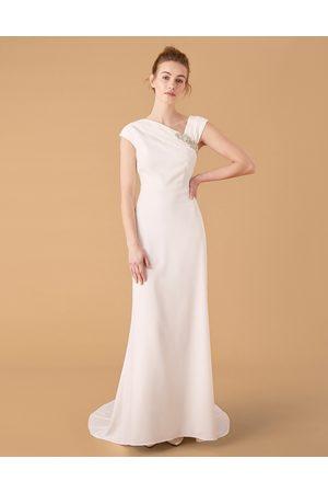 Monsoon Tess Embellished Brooch Bridal Dress Ivory