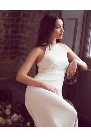 Monsoon Halterneck Dresses - Madison Embroidered Halter Bridal Dress Ivory