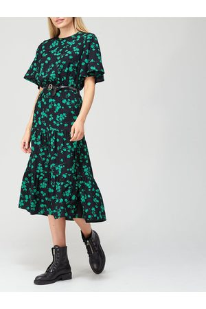 Very Angel Sleeve Midi Dress - Green Print
